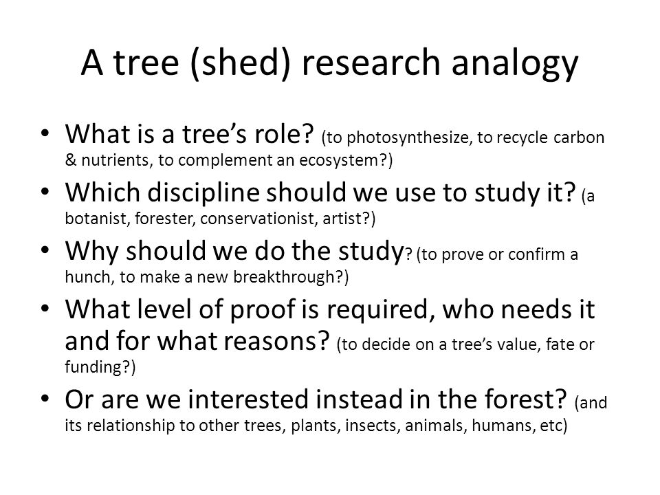 A tree (shed) research analogy What is a tree's role.