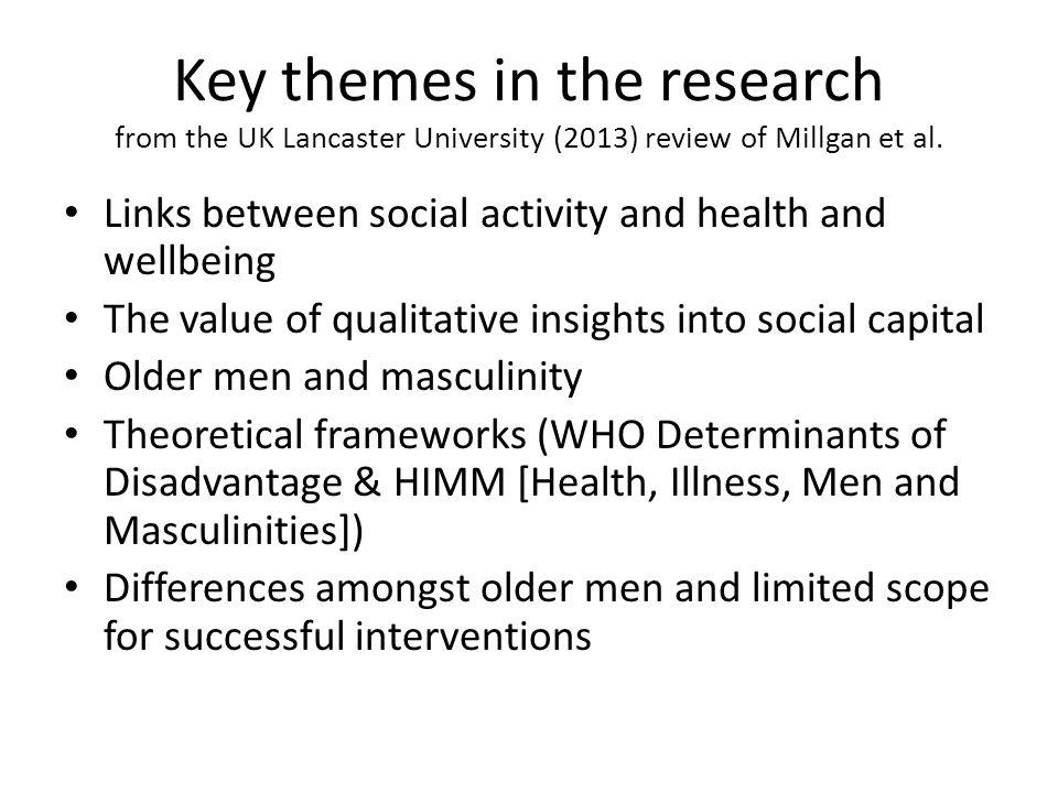 Key themes in the research from the UK Lancaster University (2013) review of Millgan et al.