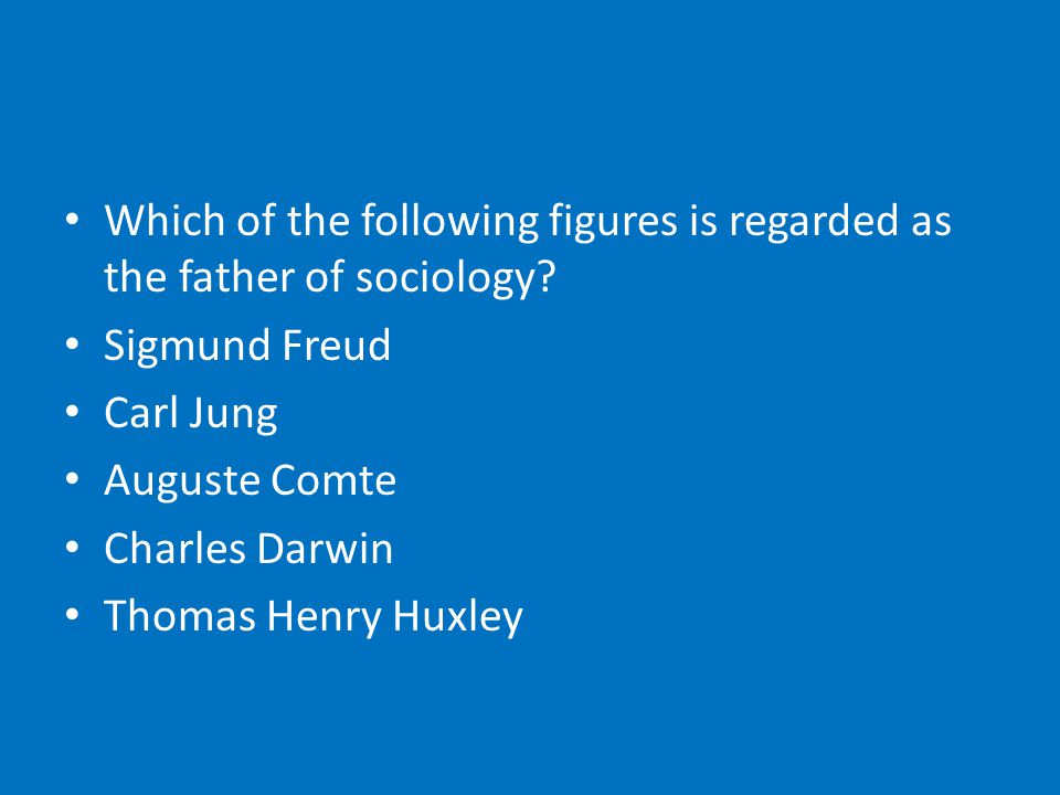Which of the following figures is regarded as the father of sociology.