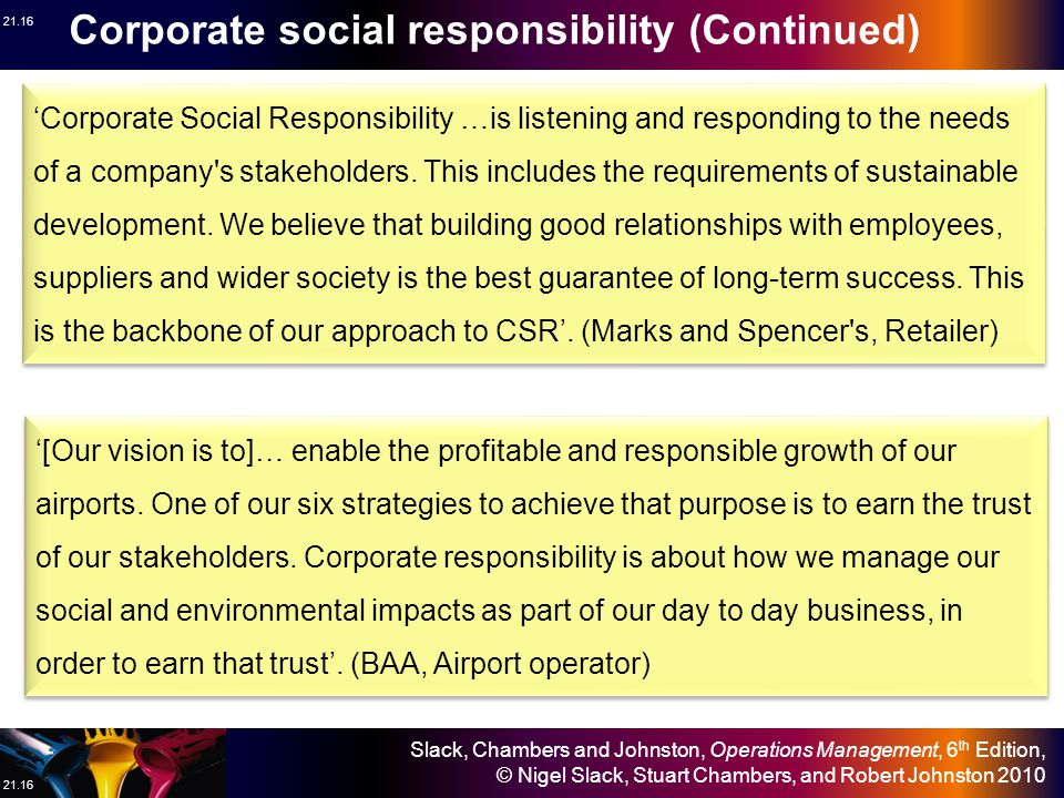 Slack, Chambers and Johnston, Operations Management, 6 th Edition, © Nigel Slack, Stuart Chambers, and Robert Johnston 2010 21.16 'Corporate Social Responsibility …is listening and responding to the needs of a company s stakeholders.