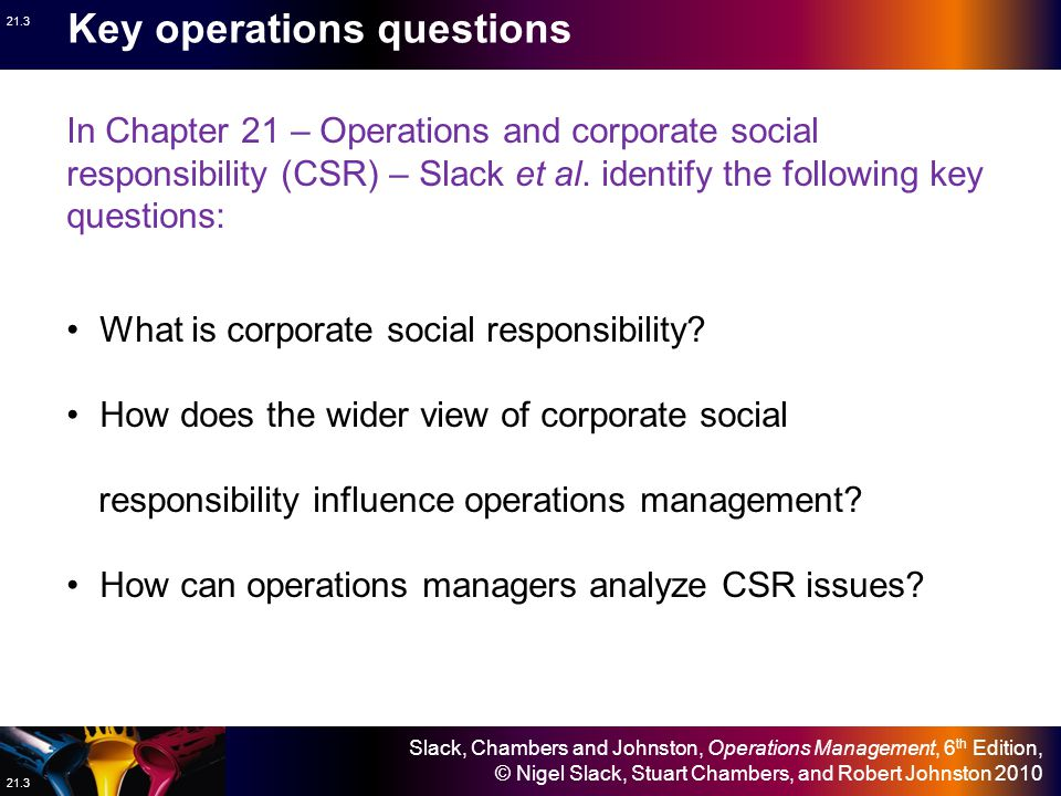 Slack, Chambers and Johnston, Operations Management, 6 th Edition, © Nigel Slack, Stuart Chambers, and Robert Johnston 2010 21.3 In Chapter 21 – Operations and corporate social responsibility (CSR) – Slack et al.