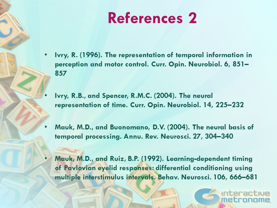References 2 Ivry, R. (1996).