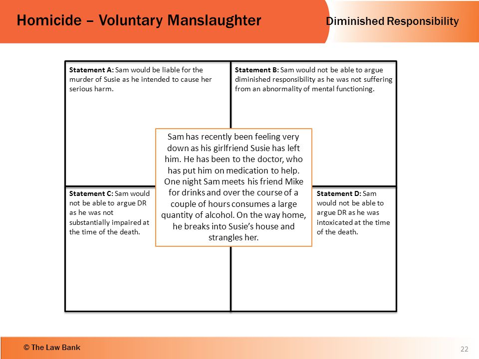 Diminished Responsibility Homicide – Voluntary Manslaughter © The Law Bank 22 Sam has recently been feeling very down as his girlfriend Susie has left