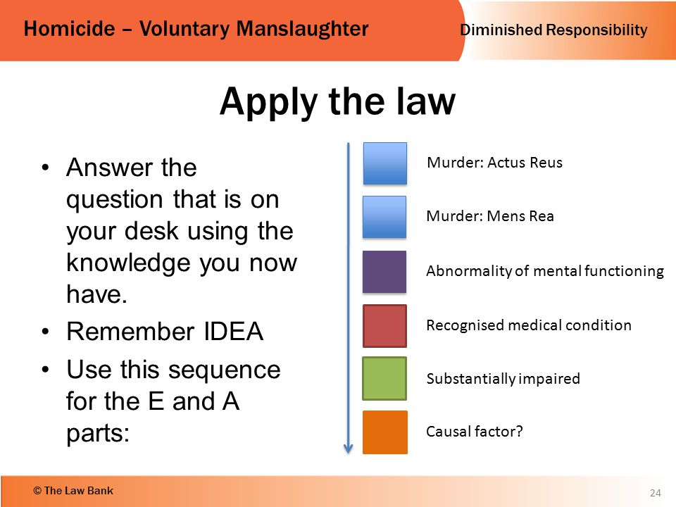 Diminished Responsibility Homicide – Voluntary Manslaughter © The Law Bank Apply the law Answer the question that is on your desk using the knowledge