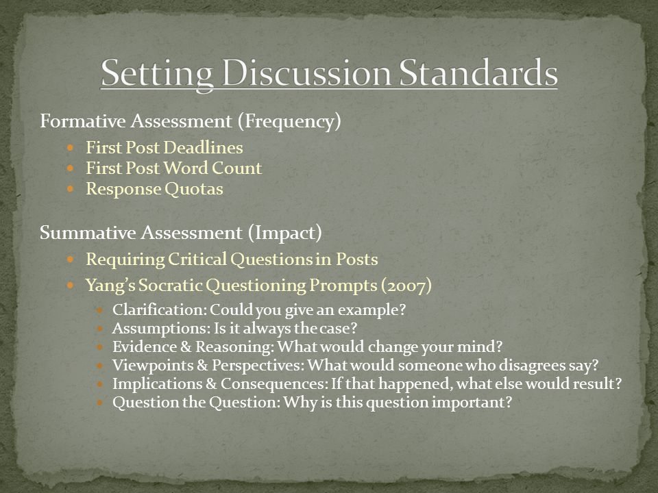 Formative Assessment (Frequency) First Post Deadlines First Post Word Count Response Quotas Summative Assessment (Impact) Requiring Critical Questions in Posts Yang's Socratic Questioning Prompts (2007) Clarification: Could you give an example.