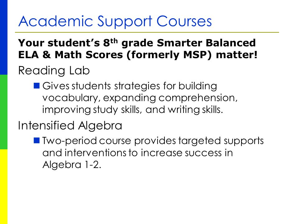 Academic Support Courses Your student's 8 th grade Smarter Balanced ELA & Math Scores (formerly MSP) matter! Reading Lab Gives students strategies for