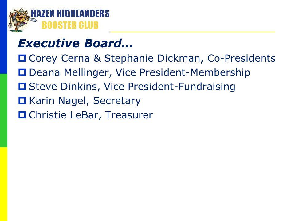 Executive Board…  Corey Cerna & Stephanie Dickman, Co-Presidents  Deana Mellinger, Vice President-Membership  Steve Dinkins, Vice President-Fundrai