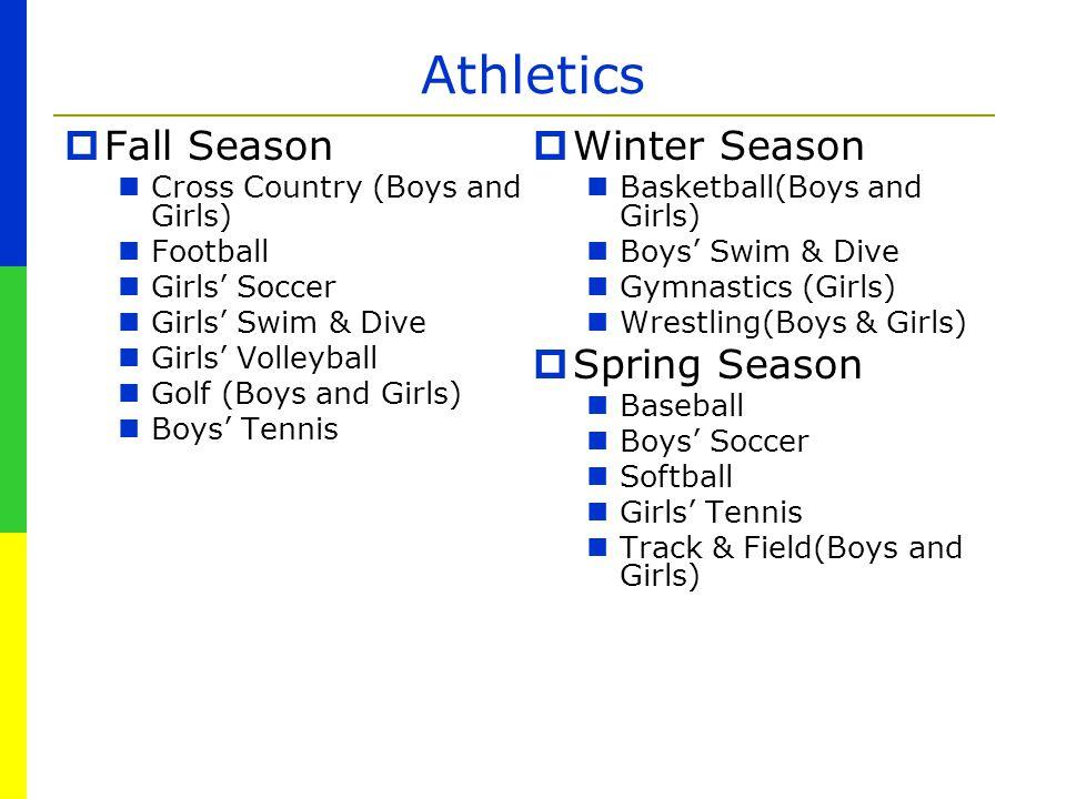 Athletics  Fall Season Cross Country (Boys and Girls) Football Girls' Soccer Girls' Swim & Dive Girls' Volleyball Golf (Boys and Girls) Boys' Tennis