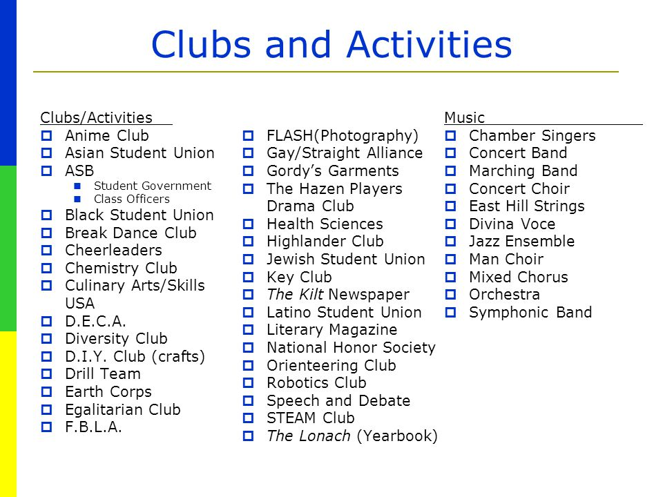Clubs and Activities Clubs/Activities  Anime Club  Asian Student Union  ASB Student Government Class Officers  Black Student Union  Break Dance C