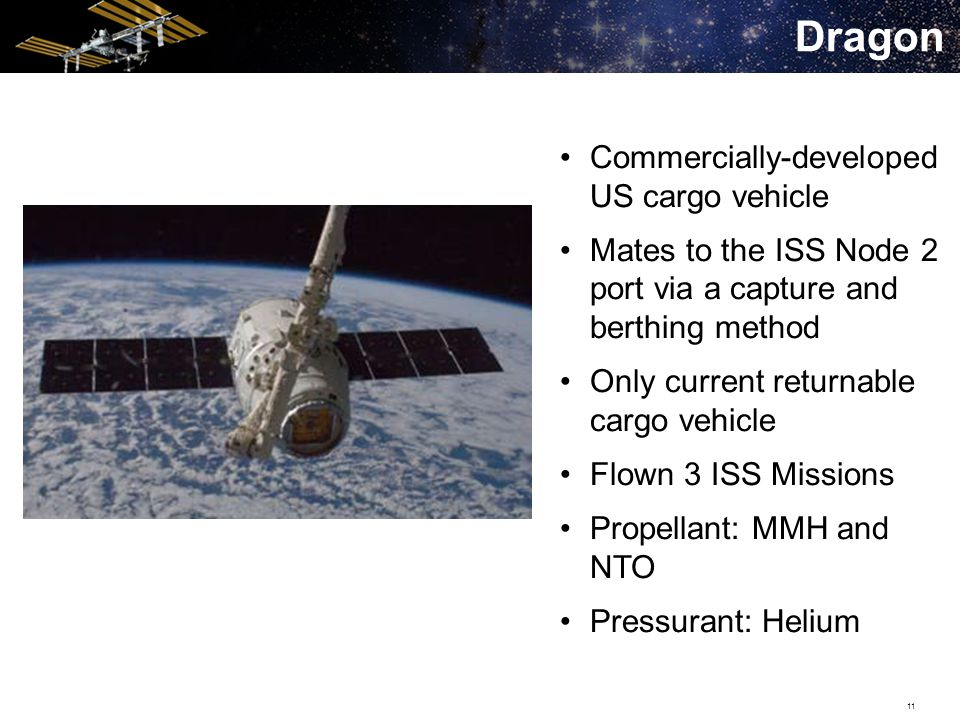 11 Dragon Commercially-developed US cargo vehicle Mates to the ISS Node 2 port via a capture and berthing method Only current returnable cargo vehicle Flown 3 ISS Missions Propellant: MMH and NTO Pressurant: Helium