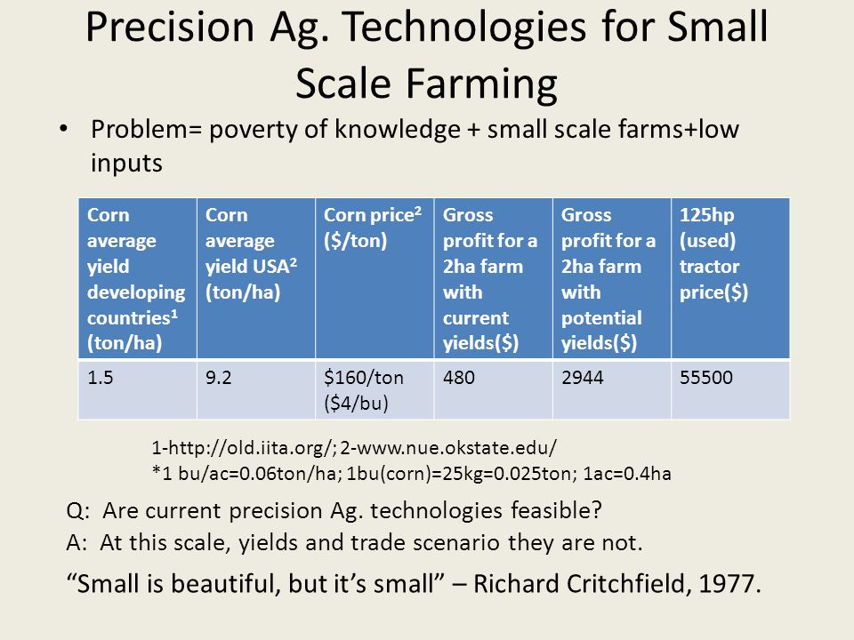 Problem= poverty of knowledge + small scale farms+low inputs Corn average yield developing countries 1 (ton/ha) Corn average yield USA 2 (ton/ha) Corn price 2 ($/ton) Gross profit for a 2ha farm with current yields($) Gross profit for a 2ha farm with potential yields($) 125hp (used) tractor price($) 1.59.2$160/ton ($4/bu) 480294455500 1-http://old.iita.org/; 2-www.nue.okstate.edu/ *1 bu/ac=0.06ton/ha; 1bu(corn)=25kg=0.025ton; 1ac=0.4ha Small is beautiful, but it's small – Richard Critchfield, 1977.