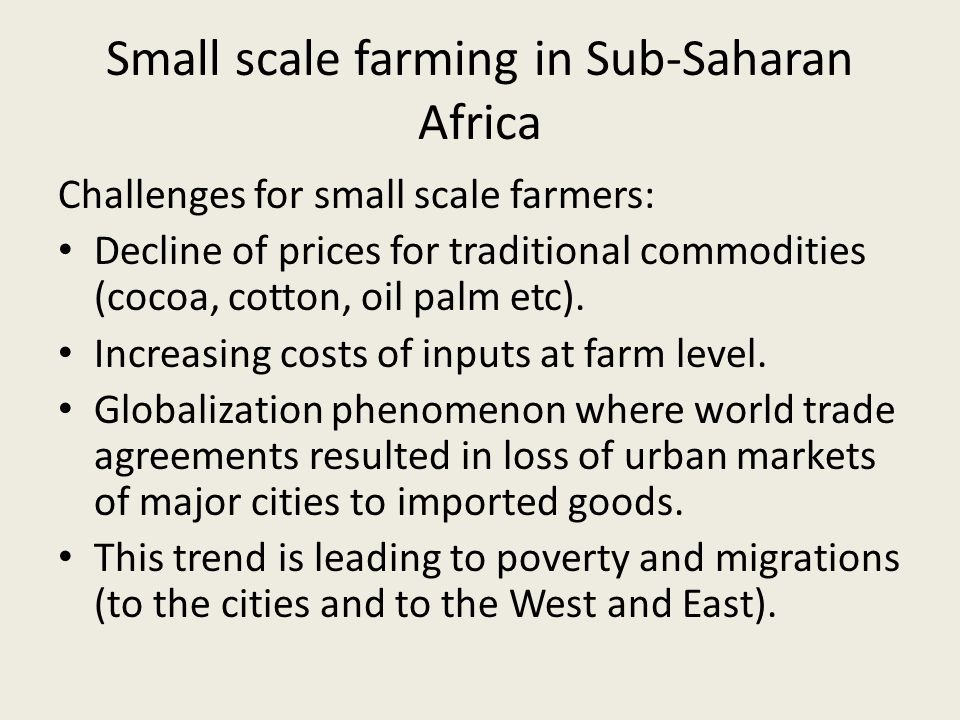 Challenges for small scale farmers: Decline of prices for traditional commodities (cocoa, cotton, oil palm etc).
