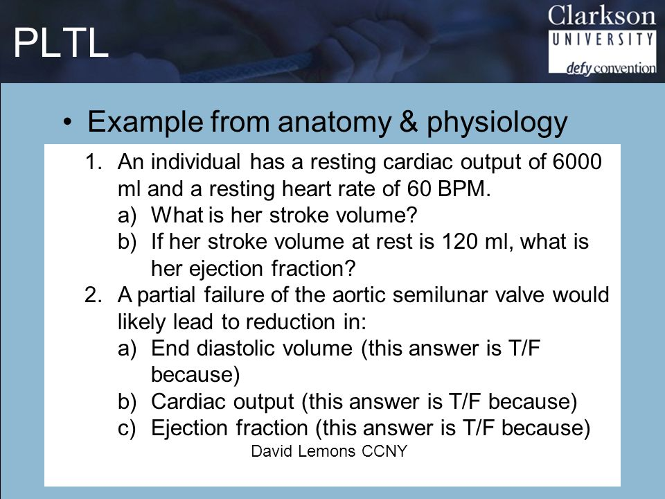 PLTL Example from anatomy & physiology Russek: PBL34 1.An individual has a resting cardiac output of 6000 ml and a resting heart rate of 60 BPM. a)Wha