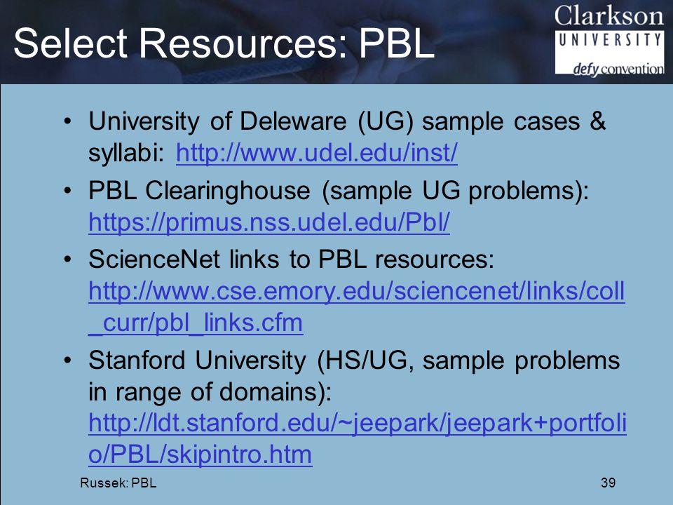 Select Resources: PBL University of Deleware (UG) sample cases & syllabi: http://www.udel.edu/inst/http://www.udel.edu/inst/ PBL Clearinghouse (sample