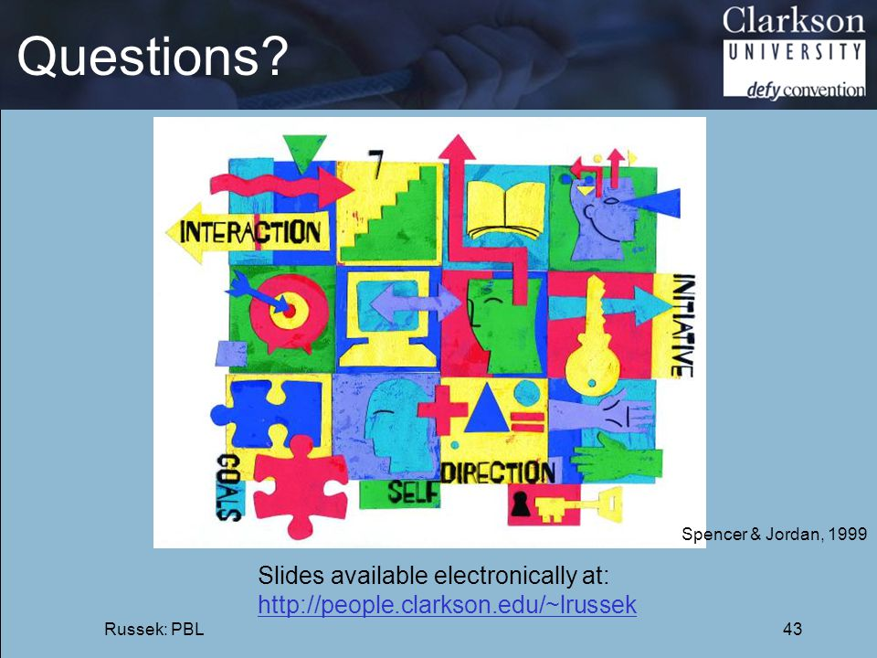 Questions? Russek: PBL43 Spencer & Jordan, 1999 Slides available electronically at: http://people.clarkson.edu/~lrussek