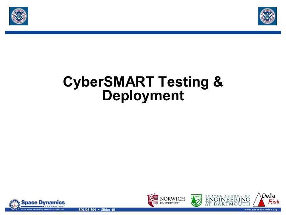 SDL/08-504  Slide: 15 CyberSMART Testing & Deployment