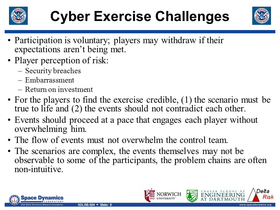 SDL/08-504  Slide: 8 Cyber Exercise Challenges Participation is voluntary; players may withdraw if their expectations aren't being met.