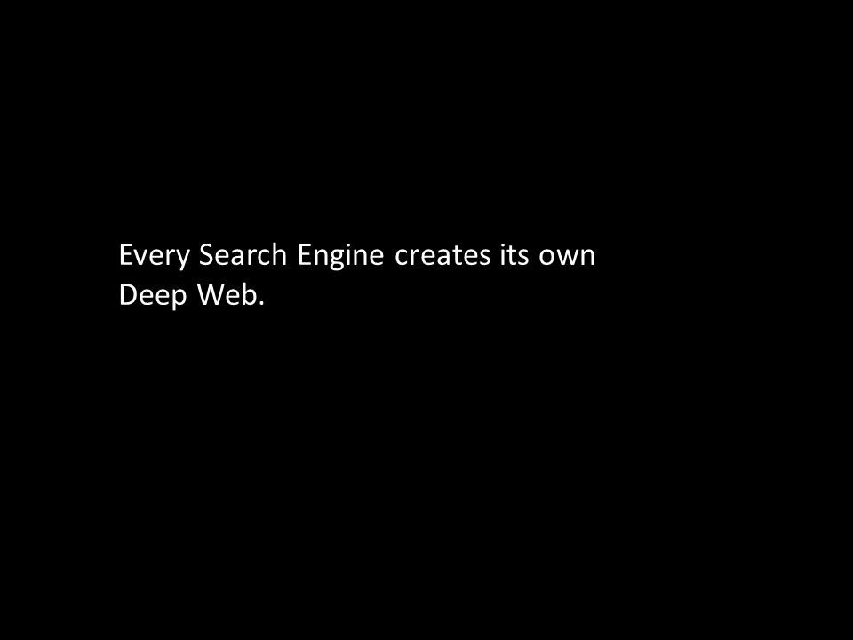 Every Search Engine creates its own Deep Web.