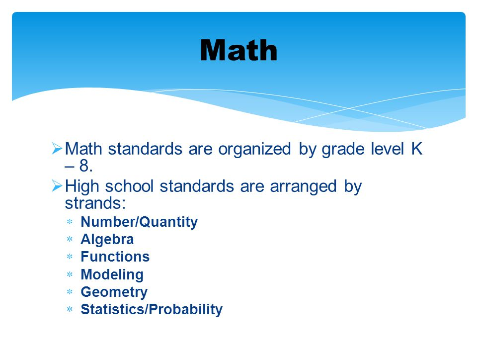  Math standards are organized by grade level K – 8.  High school standards are arranged by strands:  Number/Quantity  Algebra  Functions  Modeli