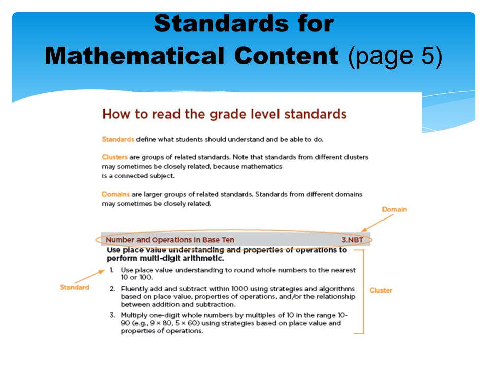 Standards for Mathematical Content (p age 5)