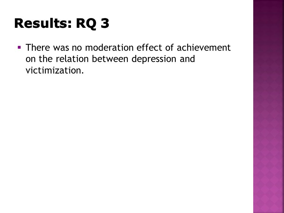  There was no moderation effect of achievement on the relation between depression and victimization.