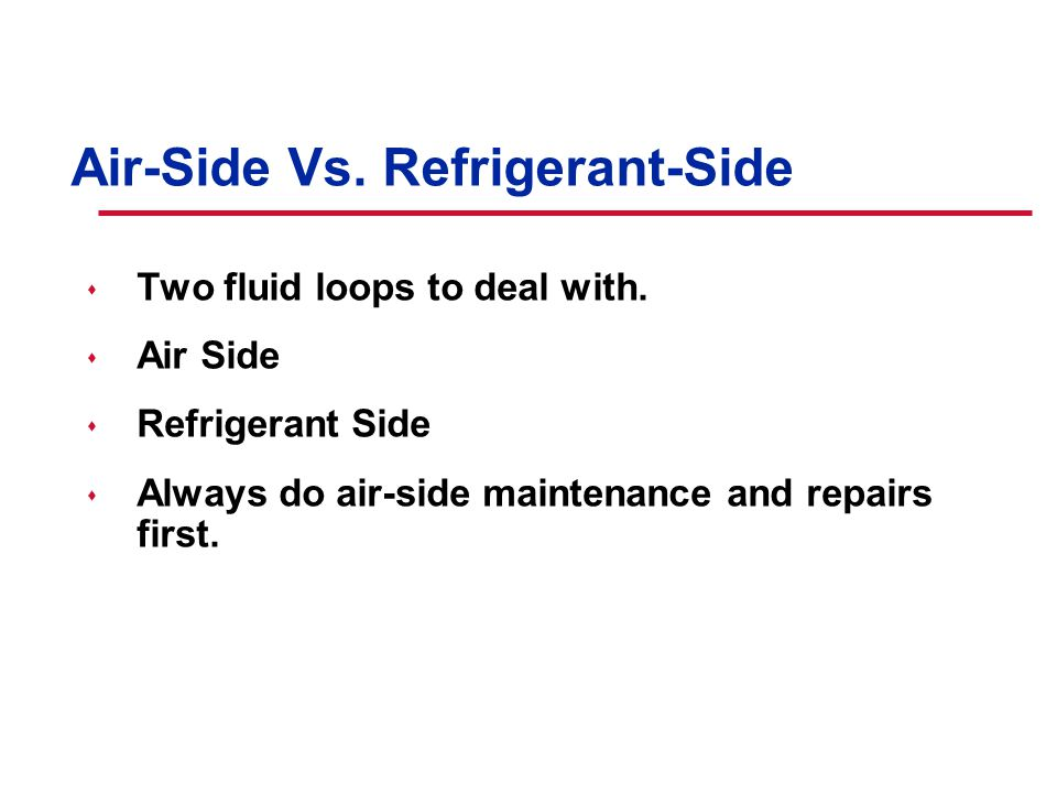 © American Standard Inc. Air-Side Vs. Refrigerant-Side s Two fluid loops to deal with.