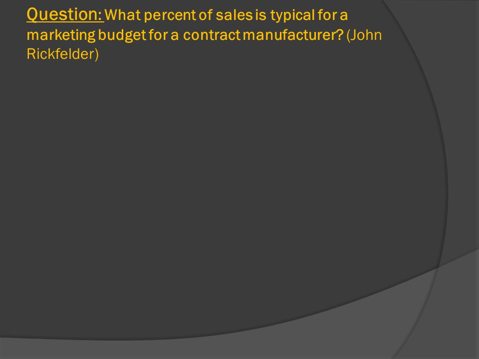 Question : What percent of sales is typical for a marketing budget for a contract manufacturer.