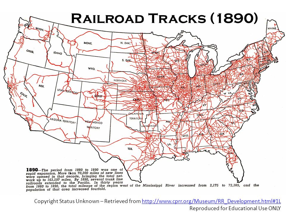 Copyright Status Unknown – Retrieved from http://www.cprr.org/Museum/RR_Development.html#1Lhttp://www.cprr.org/Museum/RR_Development.html#1L Reproduced for Educational Use ONLY Railroad Tracks (1890)