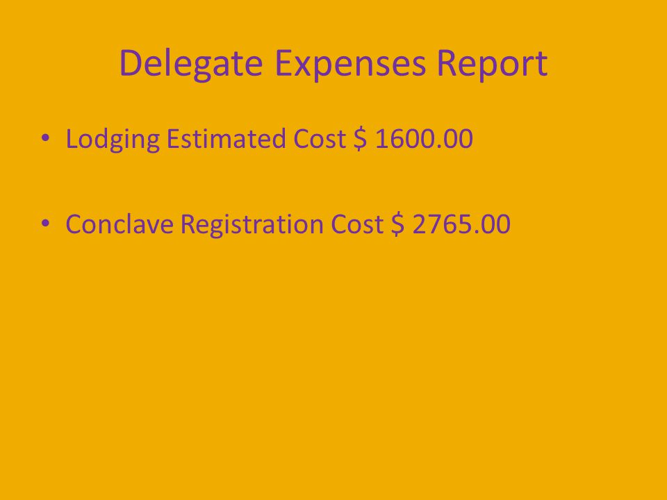 Delegate Expenses Report Lodging Estimated Cost $ 1600.00 Conclave Registration Cost $ 2765.00