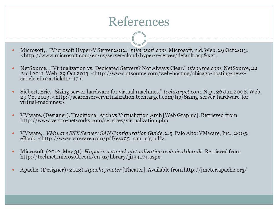 References Microsoft,. Microsoft Hyper-V Server 2012. microsoft.com.