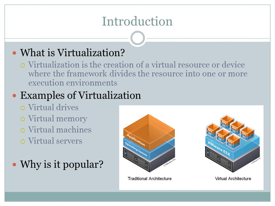 Introduction What is Virtualization.