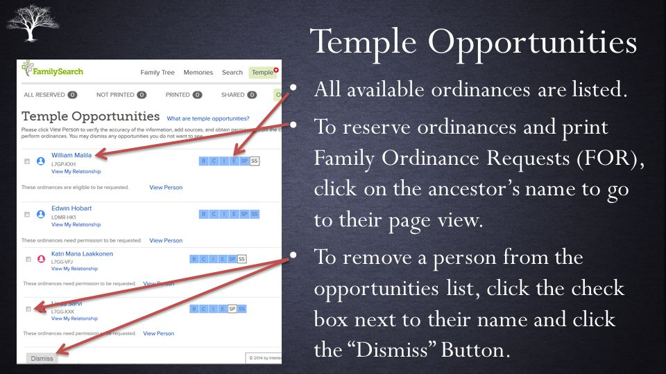 Temple Opportunities All available ordinances are listed.