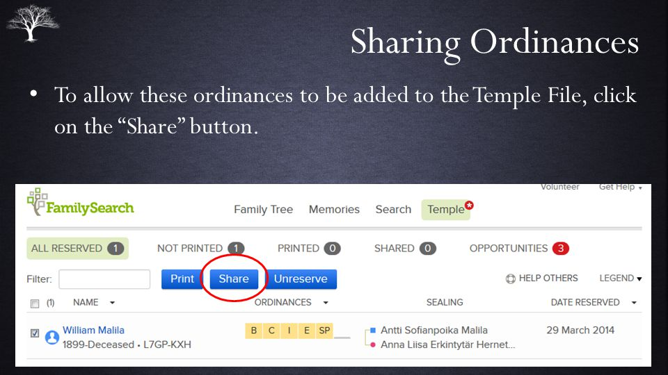 Sharing Ordinances To allow these ordinances to be added to the Temple File, click on the Share button.