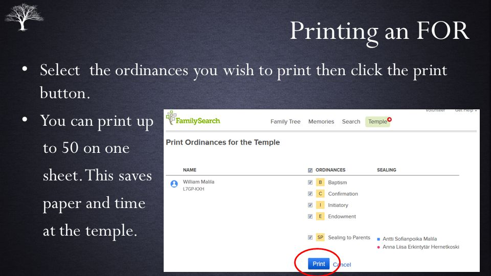 Printing an FOR Select the ordinances you wish to print then click the print button.