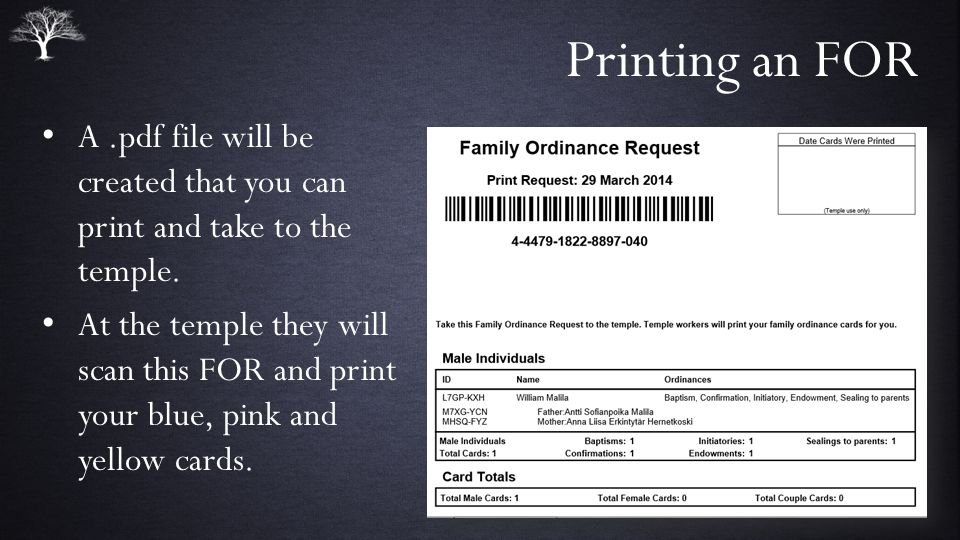 Printing an FOR A.pdf file will be created that you can print and take to the temple.
