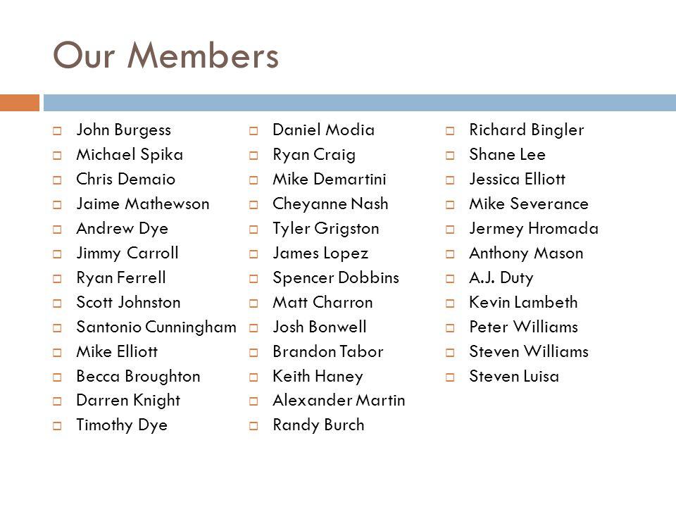 Our Members  John Burgess  Michael Spika  Chris Demaio  Jaime Mathewson  Andrew Dye  Jimmy Carroll  Ryan Ferrell  Scott Johnston  Santonio Cu