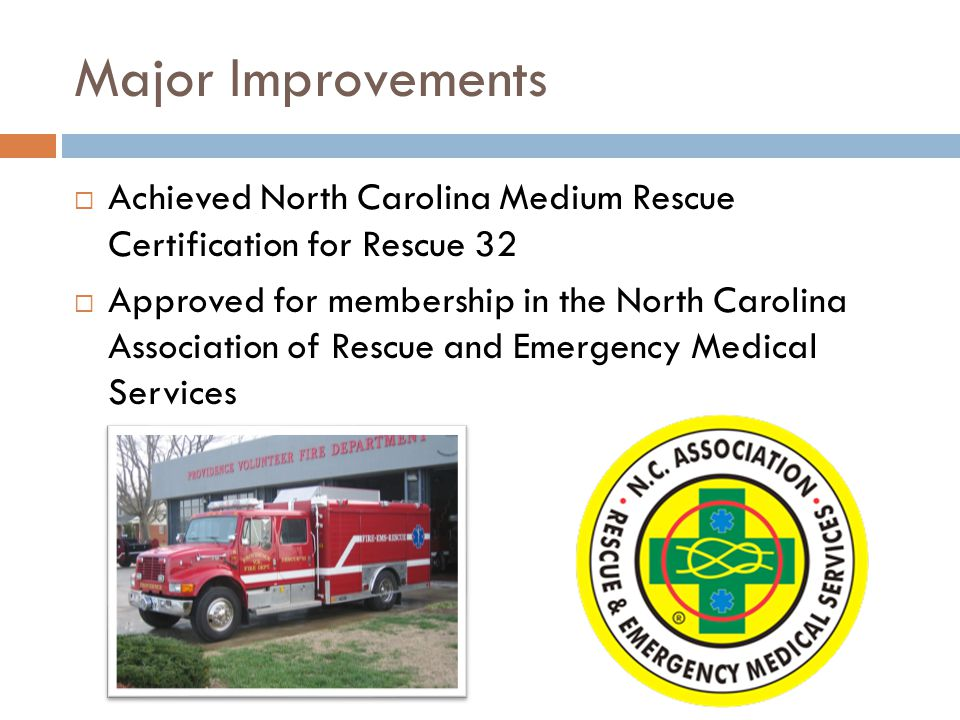 Major Improvements  Achieved North Carolina Medium Rescue Certification for Rescue 32  Approved for membership in the North Carolina Association of Rescue and Emergency Medical Services