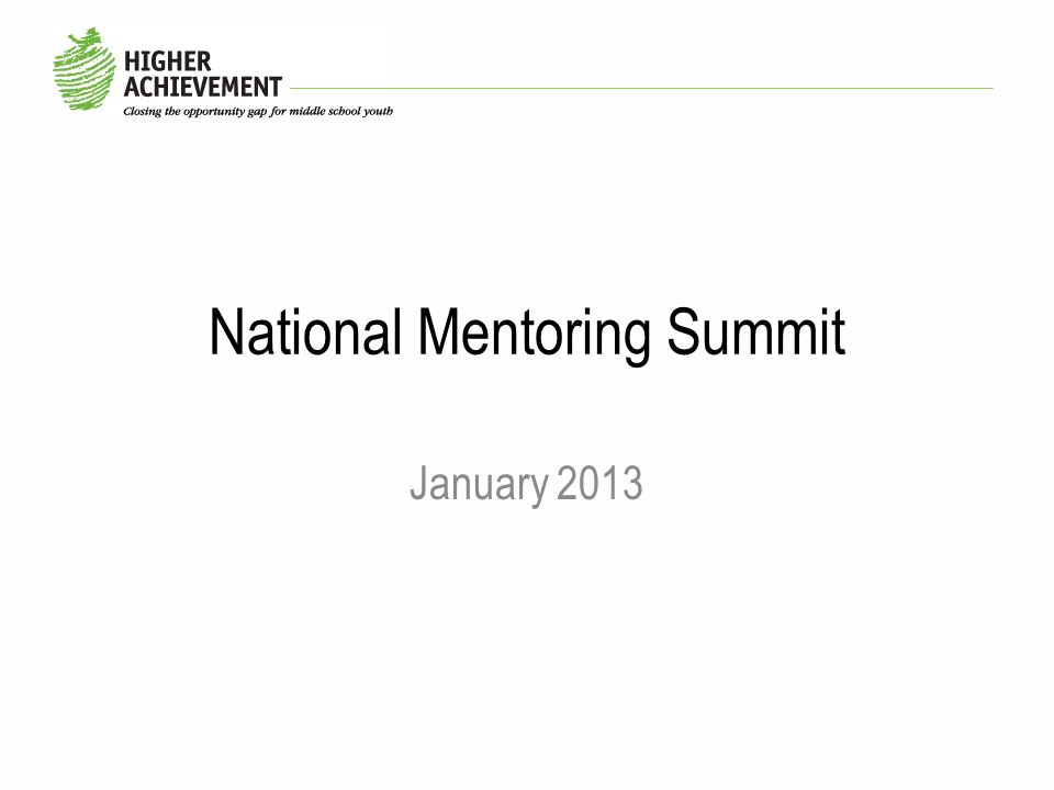 National Mentoring Summit January 2013