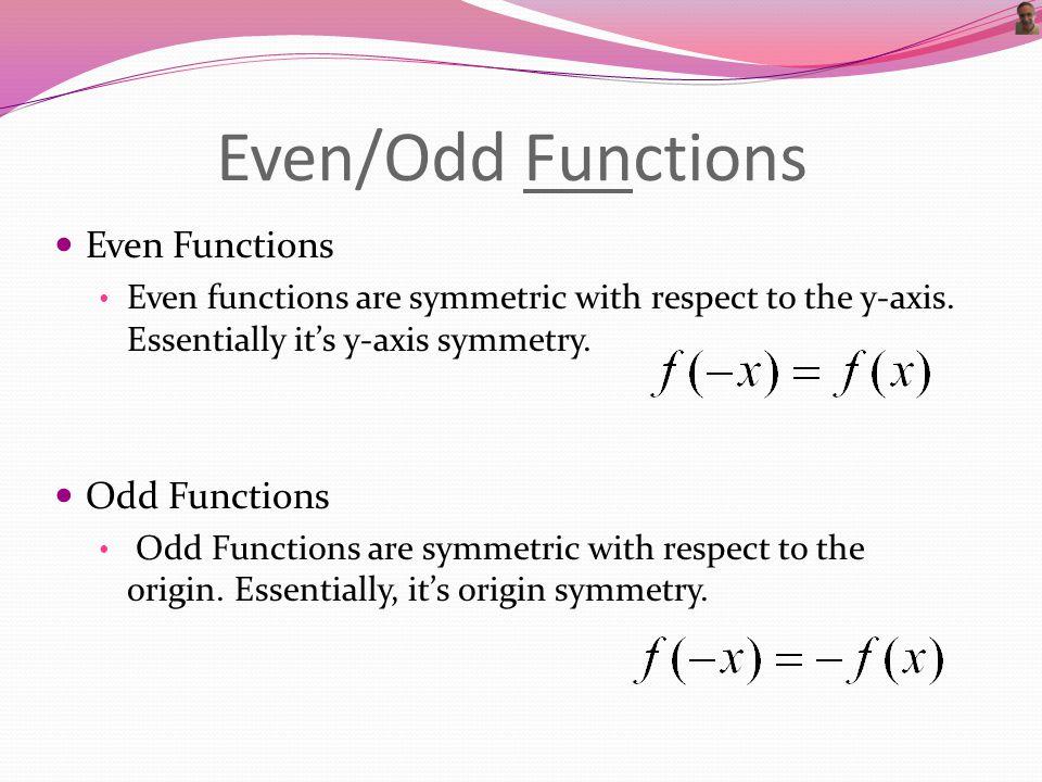 Origin Symmetry Substitute –x for x and –y for y Simplify, Simplify, Simplify.