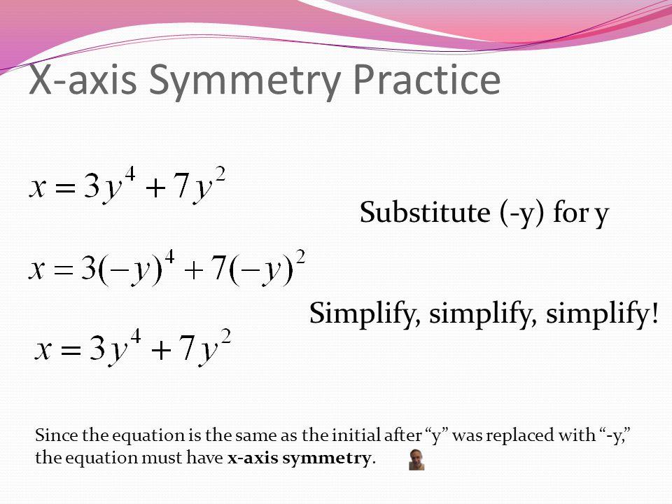X-axis Symmetry Practice Substitute (-y) for y Simplify, simplify, simplify.