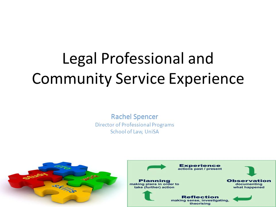 Legal Professional and Community Service Experience Rachel Spencer Director of Professional Programs School of Law, UniSA