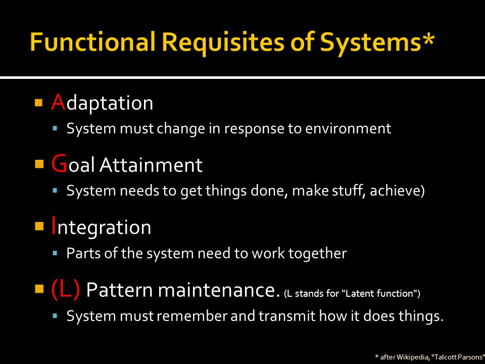  A daptation  System must change in response to environment  G oal Attainment  System needs to get things done, make stuff, achieve)  I ntegration  Parts of the system need to work together  (L) Pattern maintenance.