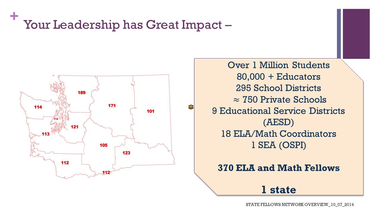 + Your Leadership has Great Impact – STATE FELLOWS NETWORK OVERVIEW_10_07_2014