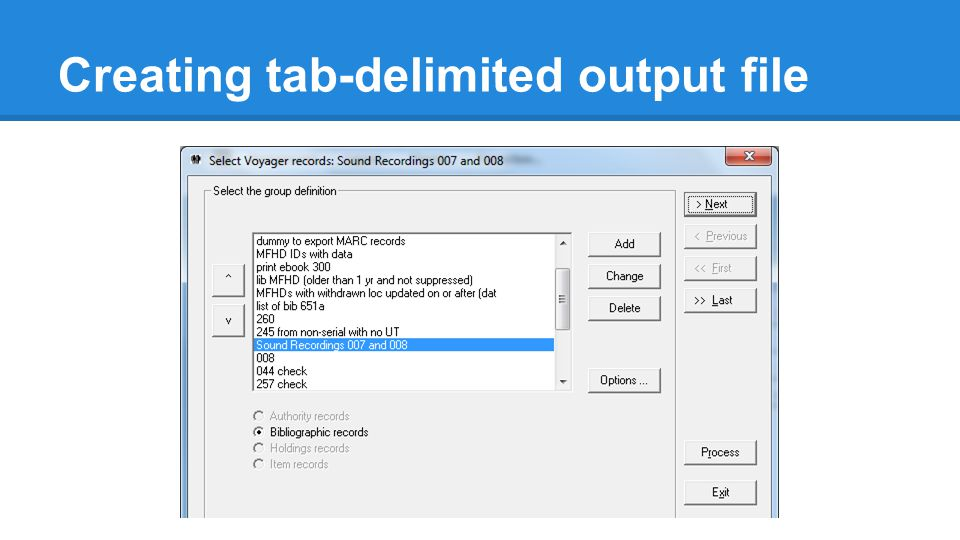Selecting records to change ●Select records to change by using criteria in the records: ○MFHD or item location (perm or temp) ○bib record type ○item status ○call number range ●Or, input a text file of barcodes, item IDs, MFHD IDs, or bib IDs