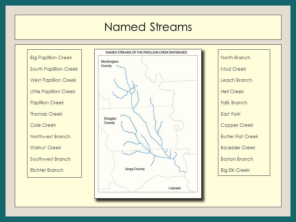 Named Streams Big Papillion Creek South Papillion Creek West Papillion Creek Little Papillion Creek Papillion Creek Thomas Creek Cole Creek Northwest