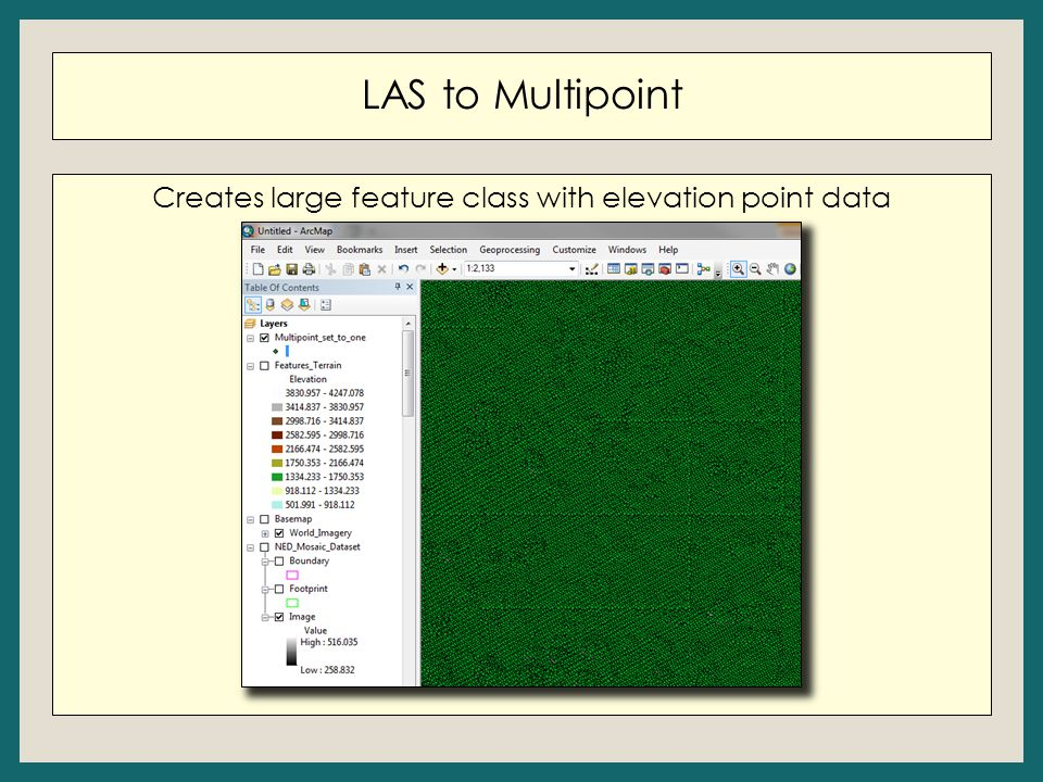 LAS to Multipoint Creates large feature class with elevation point data
