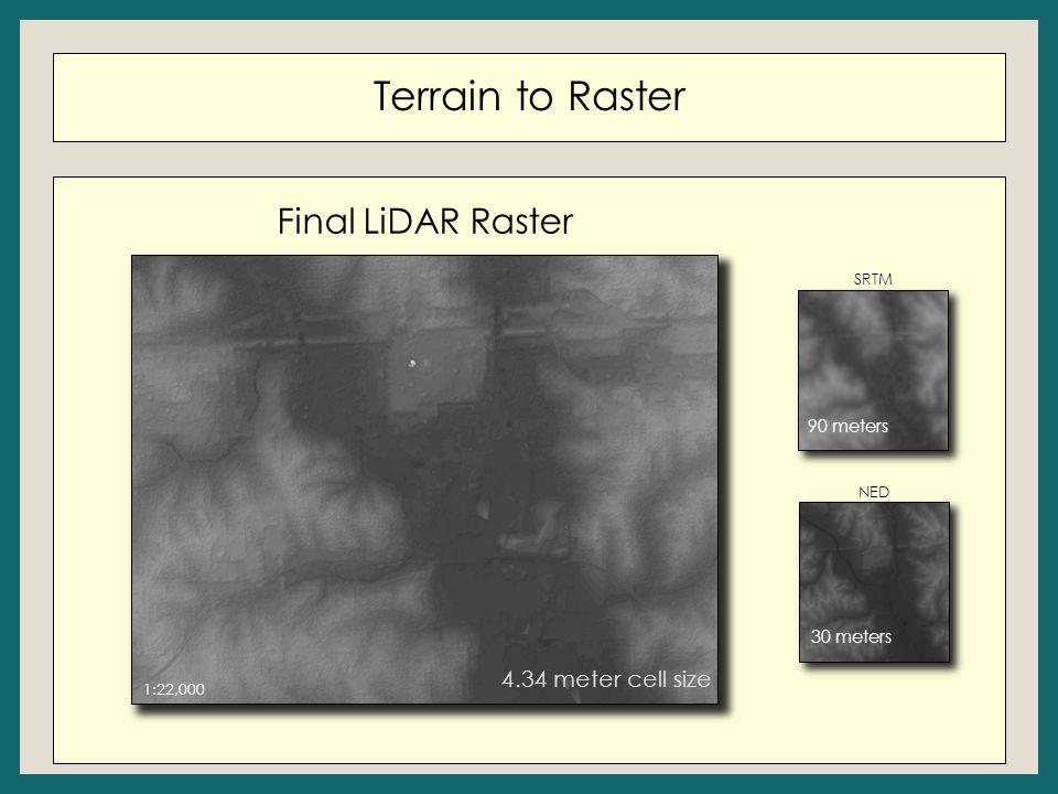 Terrain to Raster 1:22,000 4.34 meter cell size SRTM NED 90 meters 30 meters Final LiDAR Raster