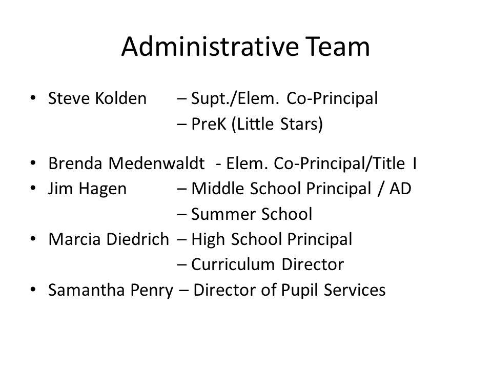 Administrative Team Steve Kolden – Supt./Elem.