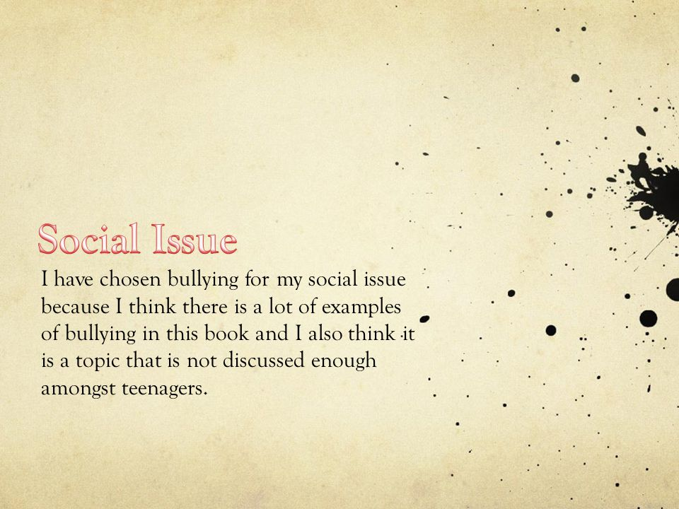 I have chosen bullying for my social issue because I think there is a lot of examples of bullying in this book and I also think it is a topic that is not discussed enough amongst teenagers.