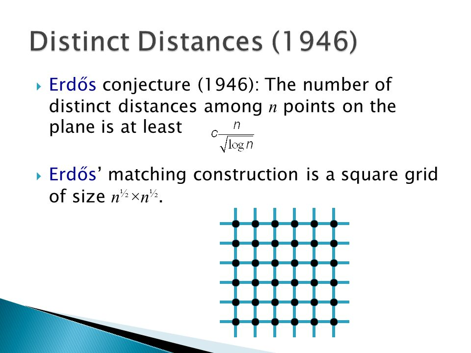  Erdős conjecture (1946): The number of distinct distances among n points on the plane is at least  Erdős' matching construction is a square grid of size n ½ ×n ½.